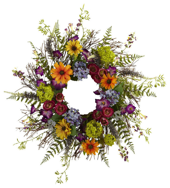 24 Spring Garden Wreath With Twig Base.