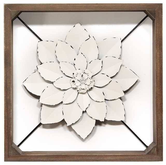 Stratton Home Decor White Framed Metal Flower S21053 Farmhouse Wall Accents By Stratton Home Decor