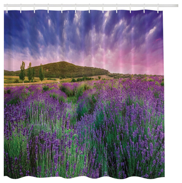 Purple Lavender Flowers In Mountain Nature Setting Fabric Shower Curtain