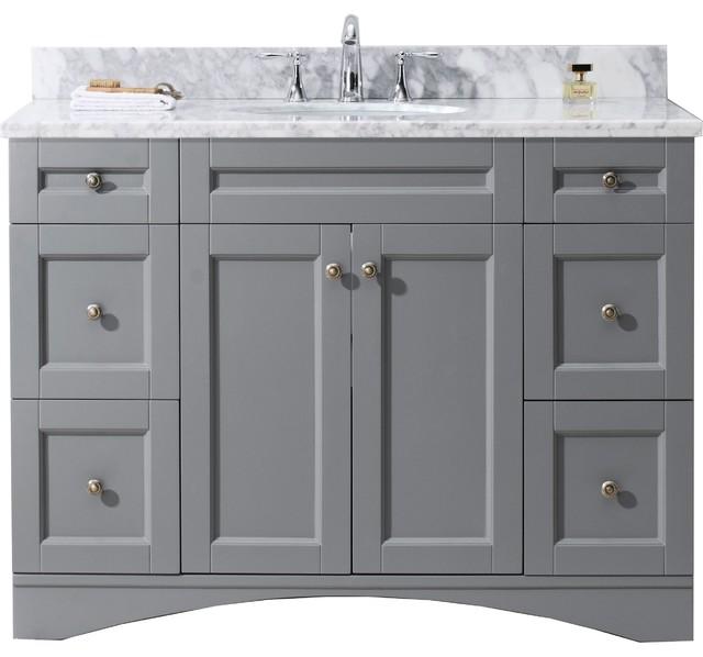 "Elise 48"" Single Bathroom Vanity Set, Gray With Marble Countertop."