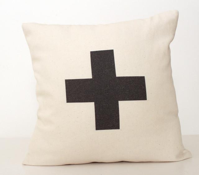 Plus Typographic/Swiss Cross Pillow by Zana
