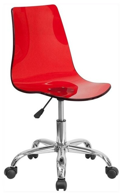 Acrylic Task Chair With Chrome Base, Red.