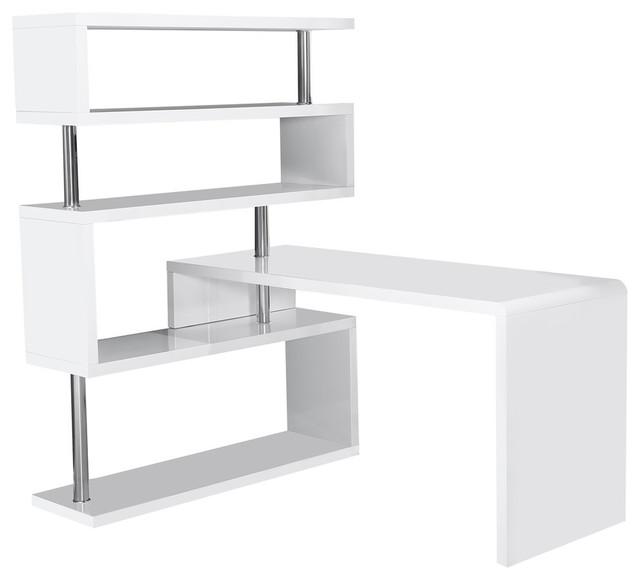 International Modern White Desk and Book Shelf