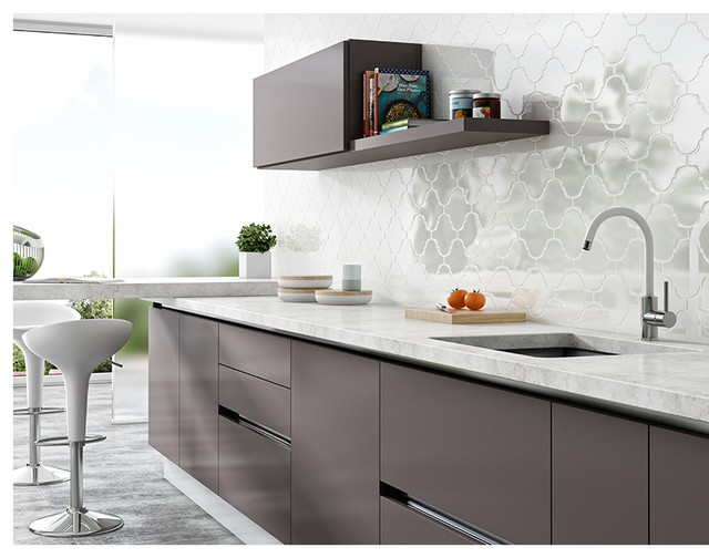 Modern Kitchen Backsplash Arabesque Wall Tiles Transitional