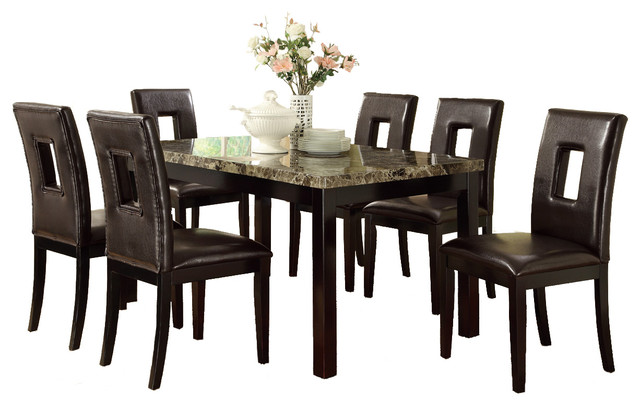 Marble Style Table Top Faux Leather Sqaure Eyelet Chairs Espresso 7 Piece Set Contemporary