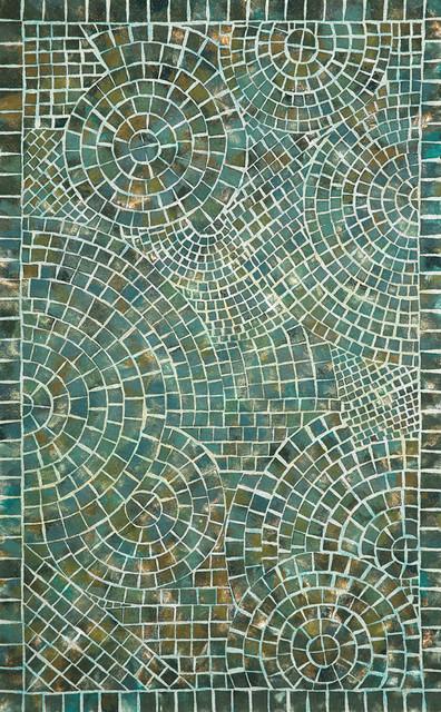 Trans Ocean Liora Manne Visions V Arch Tile Blue Rug, 8u0027x10u0027 Contemporary
