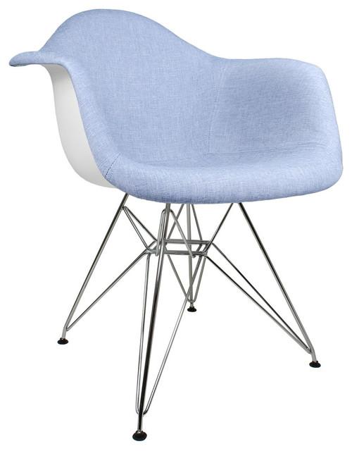 Strange Blue Denim Fabric Upholstered Accent Arm Chair Metal Eiffel Legs Cjindustries Chair Design For Home Cjindustriesco