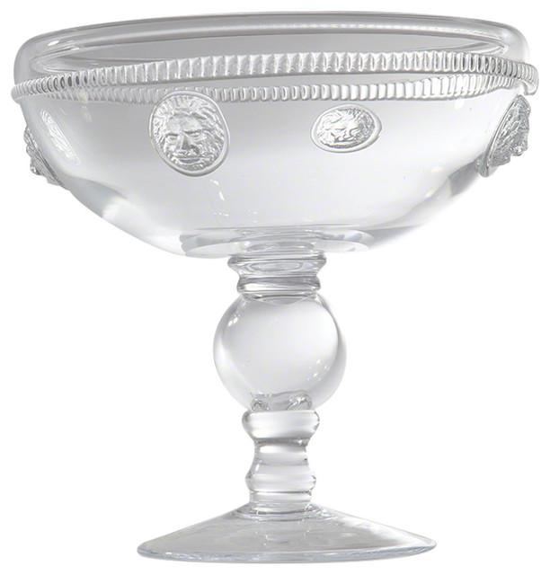 Global Views Grande Footed Bowl: Lion Head Medallion Glass Footed Bowl, Pedestal