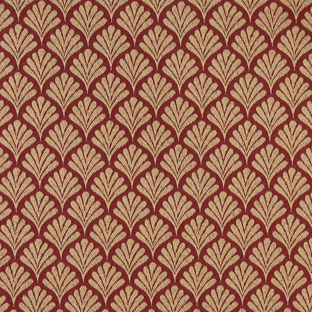 Red, Fan Patterned Woven Upholstery Fabric By The Yard & Reviews ...