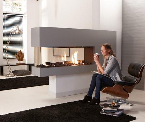 Dual side fireplace between bedroom and living room Dual purpose living room bedroom