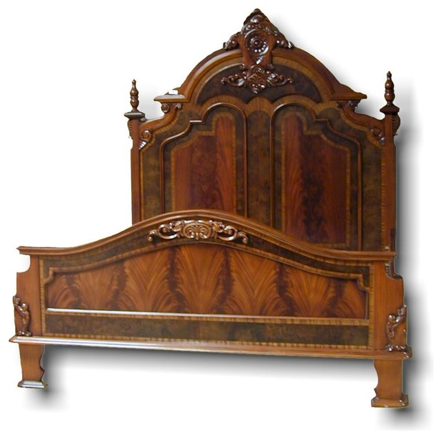 King Bed Victorian Style Carved Double Traditional Bed