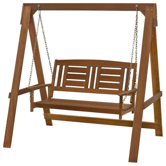 Furinno Tioman Hardwood Hanging Porch Swing With Stand In Teak Oil.