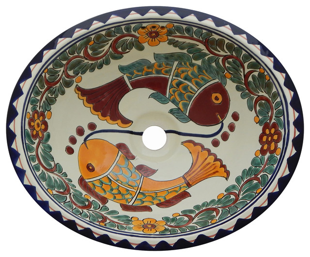 Mexican Talavera Ceramic Hand Painted Bathroom Oval Sink.