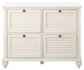 Polar White 4-Drawer File Cabinet - Traditional - Filing Cabinets - by Luxe Home Decorators