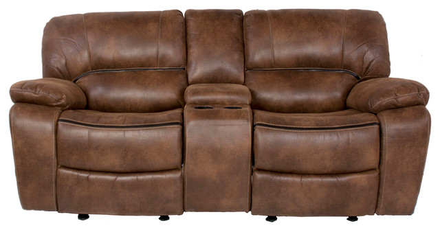 Snuggle Up Dual Rocking Reclining Loveseat With Console