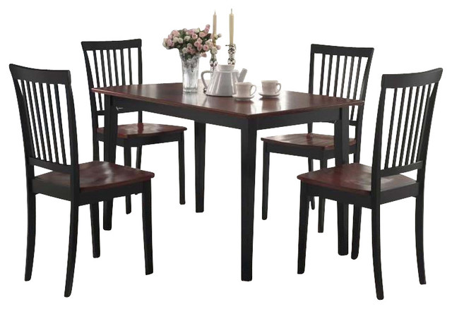 Coaster 5 Piece Dining Set In Two Tone Dark And Cherry Finish