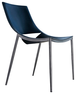Sloane Dining Chair, Carbon Steel, Black Leather