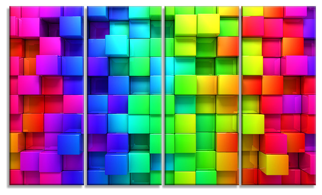 """""""Rainbow of Colorful Boxes"""" Abstract Canvas Artwork, 48""""x28"""""""