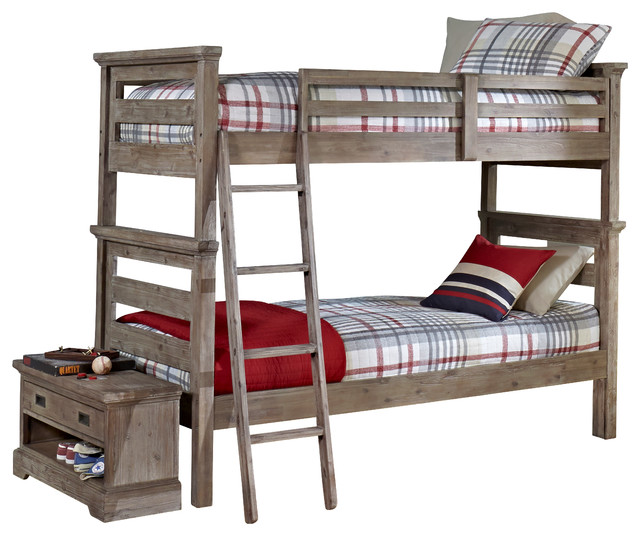 Traxler Sandwashed Gray Bunk Bed Rustic Beds By Totally Kids Fun Furniture Toys