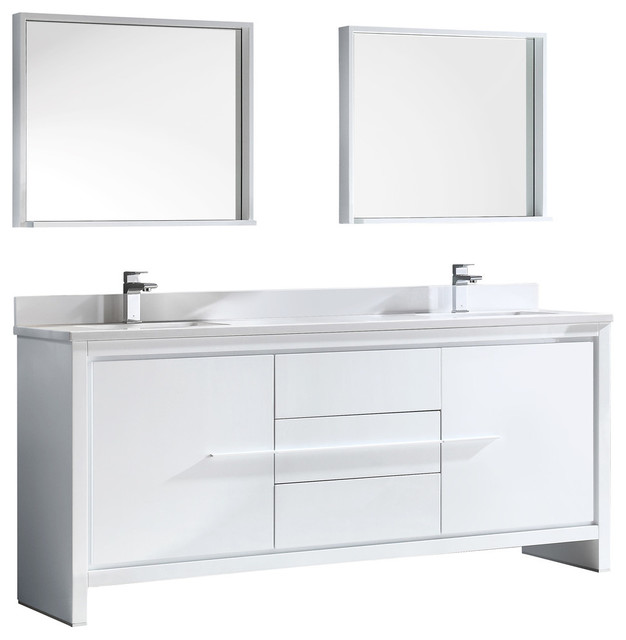 Super Allier 72 Double Sink Bathroom Vanity Mirror Bevera Chrome Faucet Home Remodeling Inspirations Genioncuboardxyz