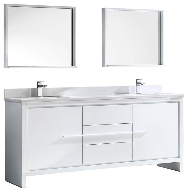 . Allier 72  Double Sink Bathroom Vanity  Mirror  Bevera Chrome Faucet