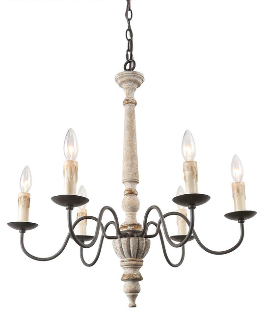 6 Light French Country Distressed Wood