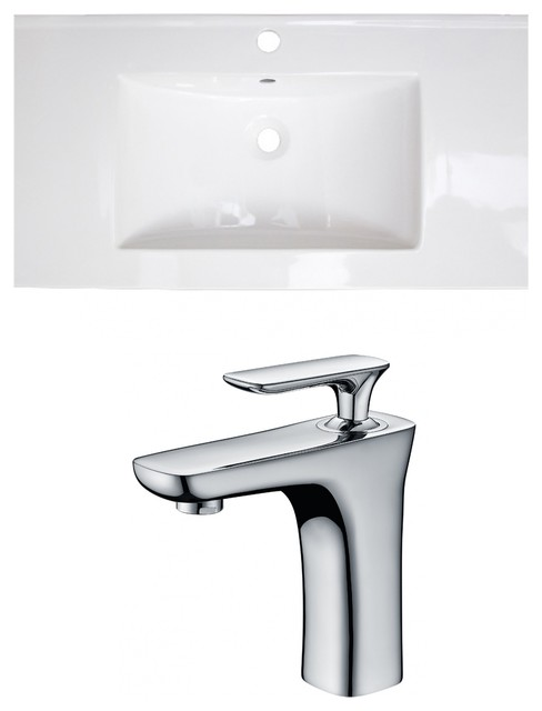 "1-Hole Ceramic Top Set, Cupc Faucet Included, White, 36.75""."