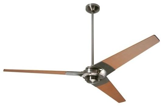 """Torsion 52"""" Ceiling Fan Bight Nickel & Maple Blades."""