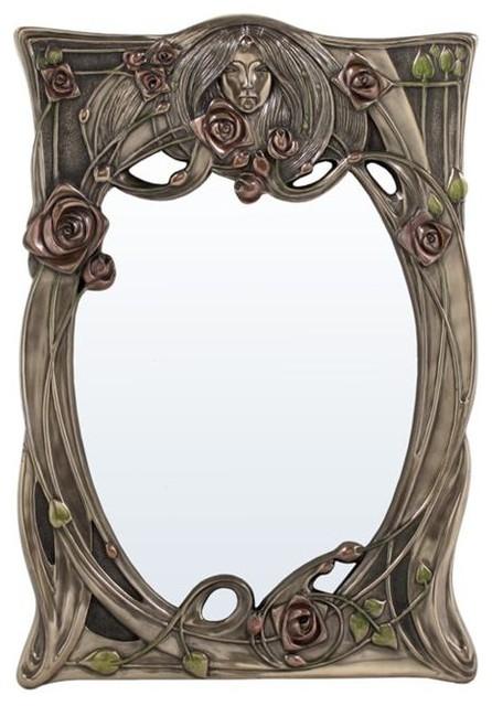 US 12 25 Inch Art Nouveau Rectangular Wall Mirror Face In Relief. Art Deco Wall Mirrors   Makipera com