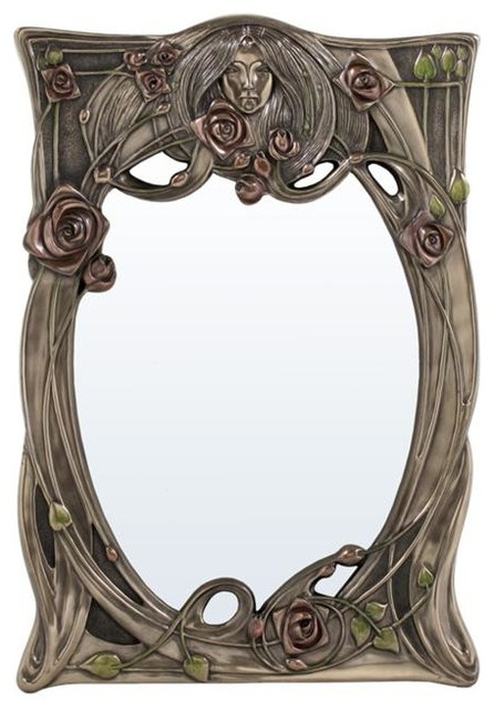 Super 12 25 Inch Art Nouveau Rectangular Wall Mirror Face In Relief Roses Download Free Architecture Designs Terchretrmadebymaigaardcom
