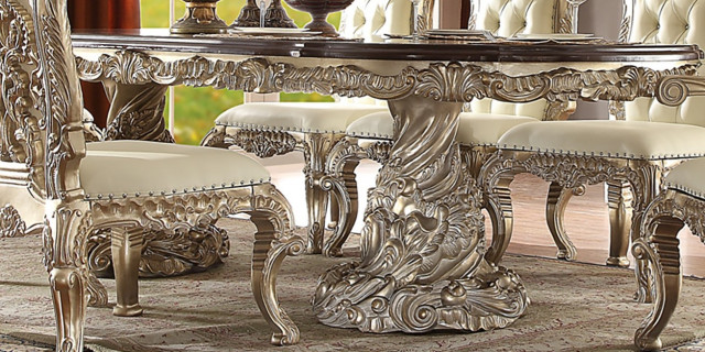New Royal Antique Metallic White Silver Finish 9 Piece Formal Dining Room Set