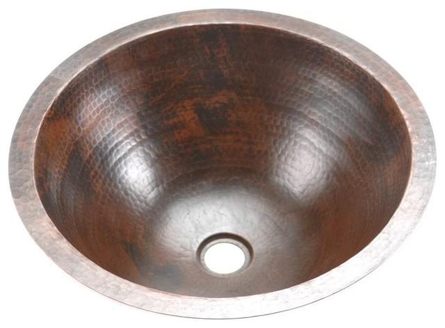 Small Round Under Counter Hammered Copper Sink