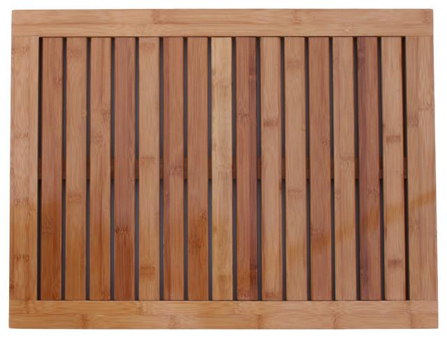 Indoor Outdoor Bamboo Floor And Shower Mat Contemporary