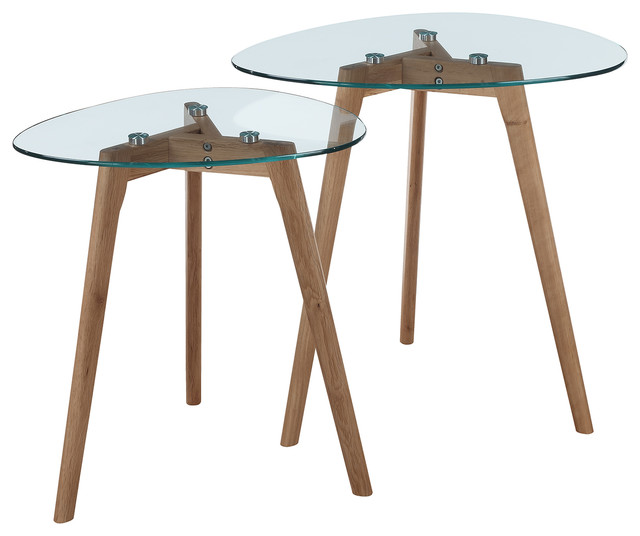 Clearview Nesting End Tables, Natural/glass.