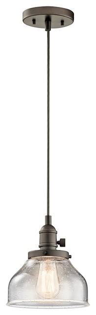 "Kichler Avery Mini Pendant 1-Light, 8""x8.5"", Olde Bronze, Clear Seeded."