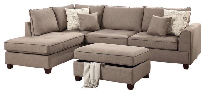 3 Piece Sectional Sofa Ottoman Set Reversible Chaise 4 Accent