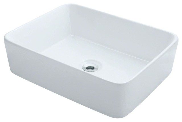 Porcelain Vessel Sink, White, Sink Only, No Additional Accessories.