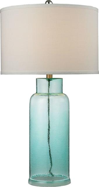 Glass Bottle Table Lamp in Seafoam Green