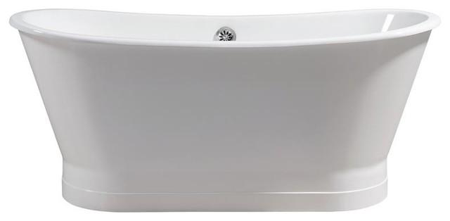 "Streamline 67"" Cast Iron Soaking Freestanding Tub With External Drain."