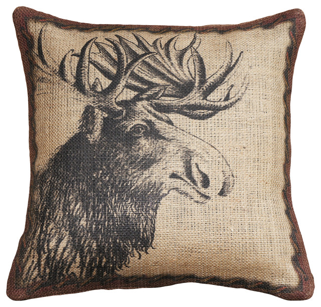 Moose Burlap Pillow Rustic Decorative Pillows By