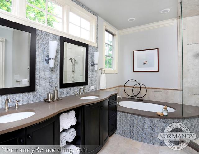 Spa Bath Espresso Cabinets Cool Blues Contemporary Bathroom