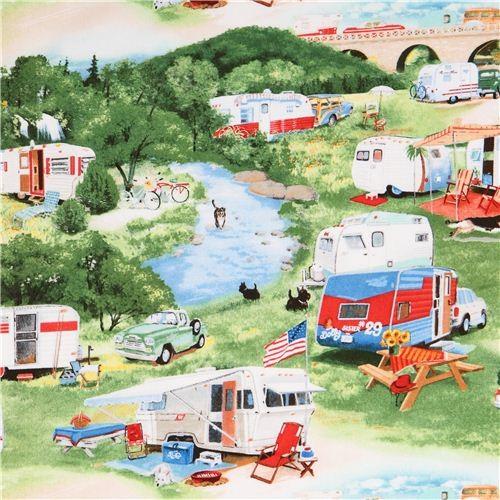 summer caravan trailer camping fabric Vintage Trailers Elizabeth's Studio