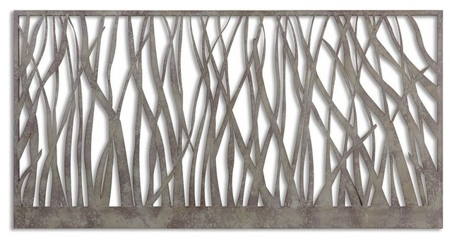 Contemporary Open Silver Metal Wall Art.