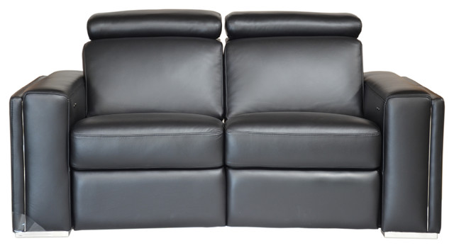 Peachy Ellie Full Top Grain B Grade Leather Motorized Loveseat Black Dailytribune Chair Design For Home Dailytribuneorg
