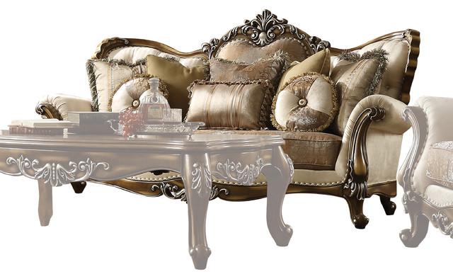 Acme Latisha Sofa With 6 Pillows Tan
