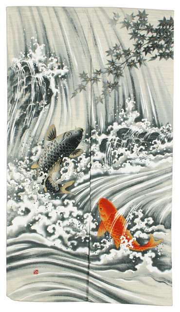 "Koi Waterfall Noren 32""x59""."
