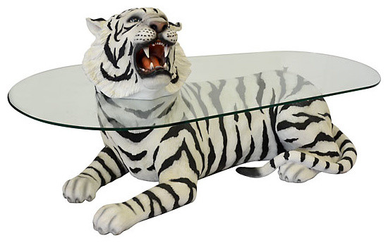 Lying Tiger Table With Gl Top Eclectic Coffee Tables