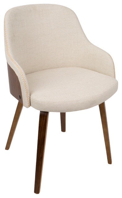 LumiSource Bacci Dining/Accent Chair, Light Gray Wood and Gray Plaid, Wa