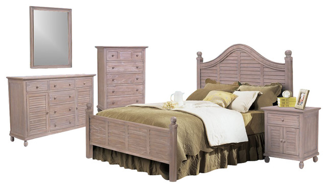 Tortuga Driftwood White 5 Piece Tropical Bedroom Set