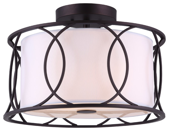 Canarm Monica Semi Flush Mount With White Fabric Shade, Oil Rubbed Bronze.